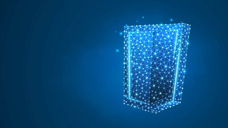 Security shield. Business concept of data protection, internet safety. Abstract, digital, wireframe, low poly mesh, vector blue neon 3d illustration. Line, dot, star