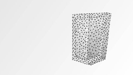Security shield. Business concept of data protection, internet safety. Abstract, digital, wireframe, low poly mesh, vector white origami 3d illustration. Line, dot, star 向量圖像