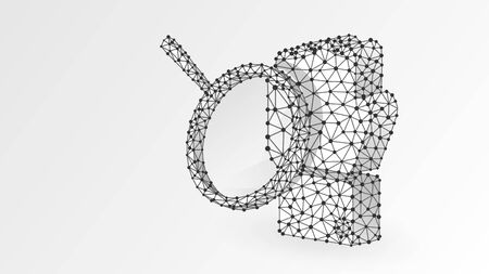 Clenched Fist model with magnifying glass. Business strength, human power analytics, success concept. Abstract, digital, wireframe, low poly mesh, vector white origami 3d illustration. Line, dot, star