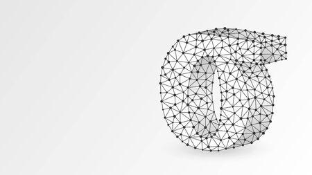 Sigma, la letra de un alfabeto griego. Números griegos, concepto matemático de doscientos números. Resumen, digital, estructura metálica, malla de baja poli, ilustración 3d de origami blanco vectorial. Triángulo, punto de línea Ilustración de vector