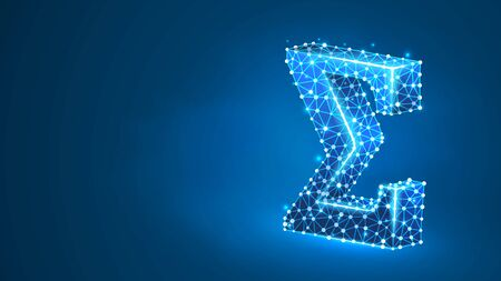 Sigma, the letter of a Greek alphabet. Greek numerals, mathematical two hundred number concept. Abstract, digital, wireframe, low poly mesh, vector blue neon 3d illustration. Triangle, line dot