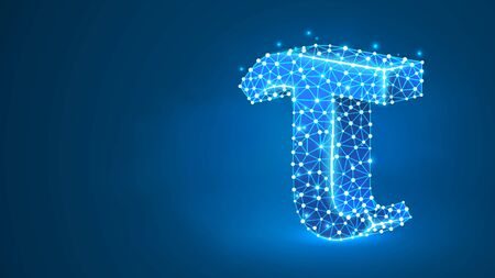 Tau, the letter of a Greek alphabet. Greek numerals, mathematical three hundred number concept. Abstract, digital, wireframe, low poly mesh, vector blue neon 3d illustration. Triangle, line dot