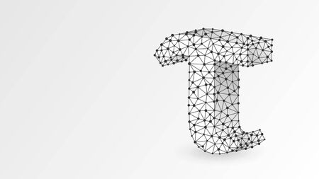Tau, the letter of a Greek alphabet. Greek numerals, mathematical three hundred number concept. Abstract, digital, wireframe, low poly mesh, vector white origami 3d illustration. Triangle, line dot Stok Fotoğraf - 132029255