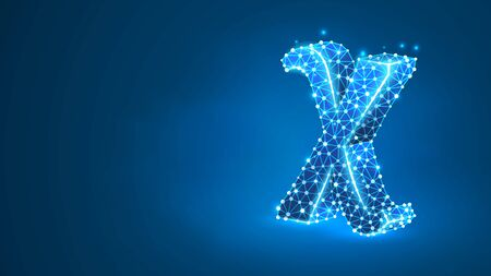 Chi, the letter of a Greek alphabet. Greek numerals, mathematical six hundred number concept. Abstract, digital, wireframe, low poly mesh, vector blue neon 3d illustration. Triangle, line dot