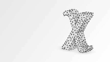 Chi, the letter of a Greek alphabet. Greek numerals, mathematical six hundred number concept. Abstract, digital, wireframe, low poly mesh, vector white origami 3d illustration. Triangle, line dot