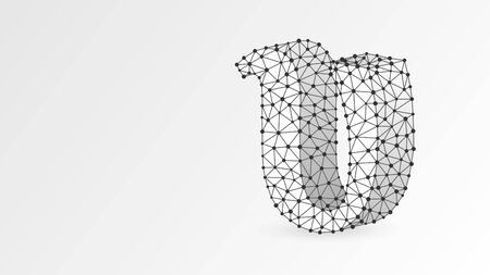 Upsilon, the letter of a Greek alphabet. Greek numerals, mathematical four hundred number concept. Abstract, digital, wireframe, low poly mesh, vector white origami 3d illustration. Triangle, line dot