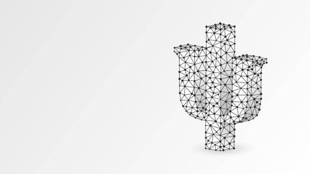 Psi, the letter of a Greek alphabet. Greek numerals, mathematical seven hundred number concept. Abstract, digital, wireframe, low poly mesh, vector white origami 3d illustration. Triangle, line dot