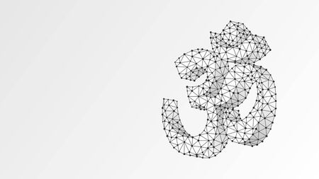 Om sign. Sacral symbol of Hinduism, Buddhism or Vedic tradition. Indian religion concept. Abstract, digital, wireframe, low poly mesh, vector white origami 3d illustration. Triangle, line dot