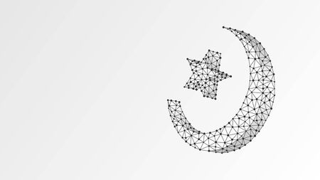 Crescent and star, Sacral symbol of Islam. Muslim religion, Arabic culture, ramadan sign concept. Abstract, digital, wireframe, low poly mesh, vector white origami 3d illustration. Triangle, line dot