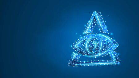 Masons symbol All-seeing eye of God. The eye of Providence in the triangle, religion concept. Abstract, digital, wireframe, low poly mesh, vector blue neon 3d illustration. Triangle, line dot