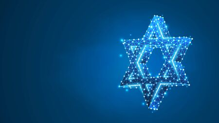 Star of David. Six pointed geometric star, symbol of modern Jewish identity and Judaism Israel. Abstract, digital, wireframe, low poly mesh, vector blue neon 3d illustration. Triangle, line dot