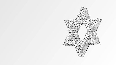 Star of David. Six pointed geometric star, symbol of modern Jewish identity and Judaism Israel. Abstract, digital, wireframe, low poly mesh, vector white origami 3d illustration. Line dot