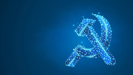 Hammer and sickle. USSR, Soviet Union proletarian solidarity symbol, communism sign. Abstract, digital, wireframe, low poly mesh, vector blue neon 3d illustration. Triangle, line dot
