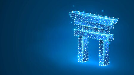 Japanese Torii gate silhouette. Shinto door, kami-no-Michi symbol of ethnic religion of Japan. Abstract, digital, wireframe, low poly mesh, vector blue neon 3d illustration. Triangle, line dot Stok Fotoğraf - 132029744