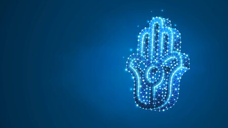 Jainism, Jain Dharma religion sign. Symbol of Ahimsa, aparigraha and asceticism. ancient Indian religion. Abstract, digital, wireframe, low poly mesh, vector blue neon 3d illustration. Line dot