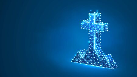 Christian cross on a hill. The crucifixion of Jesus, the Christian religion concept. Abstract, digital, wireframe, low poly mesh, vector blue neon 3d illustration. Triangle, line dot Çizim