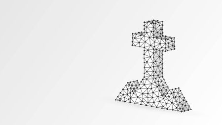 Christian cross on a hill. Abstract, digital, wireframe, low poly mesh, vector white origami 3d illustration. The crucifixion of Jesus, the Christian religion concept. Triangle, line dot