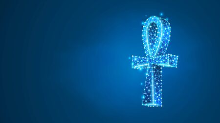 Ankh cross the symbol of Egypt. Key of life, ancient Egyptian hieroglyphic symbol. Culture, travel concept. Abstract, digital, wireframe, low poly mesh, vector blue neon 3d illustration. Line dot