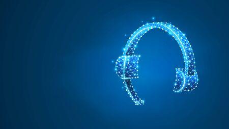 Auriculares. Auriculares con señal de micrófono. Soporte, centro de llamadas, concepto de servicio al cliente. Resumen, digital, estructura metálica, malla de baja poli, ilustración 3d de neón azul vectorial. Punto de línea