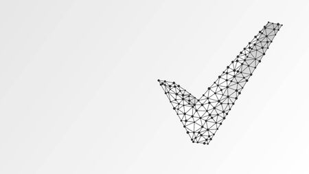 Check mark symbol. Abstract, digital, wireframe, low poly mesh, polygonal vector white origami 3d illustration. Success, business agreement, ok sign, approval concept. Line dot Çizim