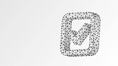 A checkmark in the square box. Abstract, digital, wireframe, low poly mesh, polygonal vector white origami 3d illustration. Success, business agreement, ok sign, approval concept. Line dot Çizim