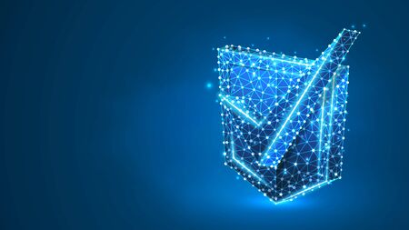 Checkmark on a Shield. Network security, data safety, internet protection concept. Abstract, digital, wireframe, low poly mesh, vector blue neon 3d illustration. Line dot Stok Fotoğraf - 134407066