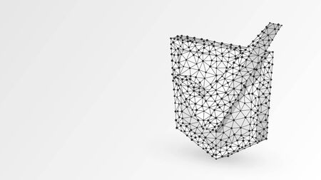 Checkmark on a Shield. Abstract, digital, wireframe, low poly mesh, vector white origami 3d illustration. Network security, data safety, internet protection concept. Line dot