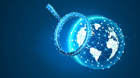 Magnifying glass on the planet Earth. Astronomy, universe, ozone shield, cosmos exploring, polygonal Terra concept. Abstract, digital, wireframe, low poly mesh, vector blue neon 3d illustration Çizim