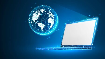 Planet Earth on white laptop screen. Global World, networking concept. Abstract, digital, wireframe, low poly mesh, polygonal vector blue neon 3d illustration with connected dots and lines