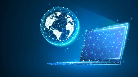 Planet Earth on laptop screen. Global World, networking concept. Abstract, digital wireframe, low poly mesh, polygonal vector blue neon 3d illustration with connected dots and lines