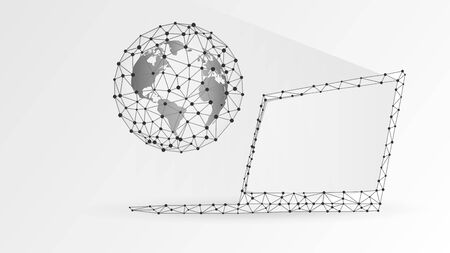 Planet Earth on white laptop screen. Global World, networking concept. Abstract, digital, wireframe, low poly mesh, polygonal vector white origami 3d illustration with connected dots and lines Çizim