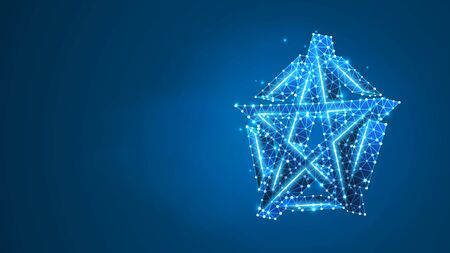 Pentagram or pentalpha or pentangle sign. Ancient pagan symbol of five-pointed star. Abstract digital wireframe, low poly mesh, vector blue neon 3d illustration. Triangle, line dot Çizim