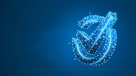A checkmark in the circle box. Success, business agreement, ok sign, approval concept. Abstract digital wireframe, low poly mesh, polygonal vector blue neon 3d illustration. Line dot