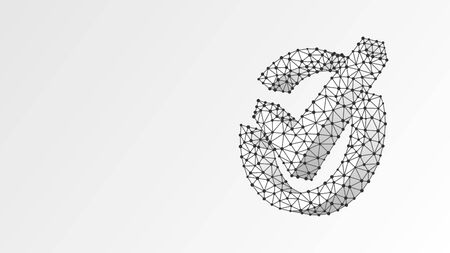 A checkmark in the circle box. Abstract digital wireframe low poly mesh, polygonal vector white origami 3d illustration. Success, business agreement, ok sign, approval concept. Line dot