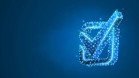 A checkmark in the square box. Success, business agreement, ok sign, approval concept. Abstract digital wireframe, low poly mesh, polygonal vector blue neon 3d illustration. Line dot Illustration