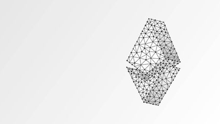 Etherium cryptocurrency. Abstract digital wireframe, low poly mesh, polygonal vector white origami 3d illustration. Crypto mining, blockchain systems, smart contract for business concept. Line dot