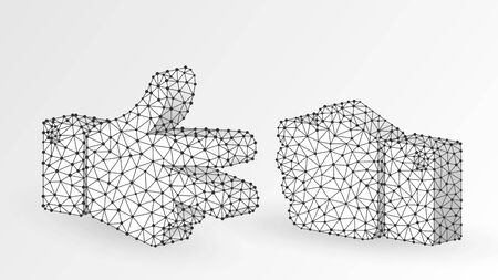 Stone versus Scissors hand gesture. Abstract digital wireframe, low poly mesh, polygonal vector white origami 3d illustration. Rock, Paper, Scissors game. Choice or conflict solution concept. Line dot Çizim