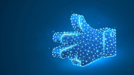 Scissors hand gesture. Rock, Paper, Scissors game. Peace or victory solution concept. Abstract digital wireframe, low poly mesh, polygonal vector blue neon 3d illustration. Line, dot Çizim