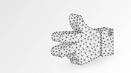 Scissors hand gesture. Abstract digital wireframe, low poly mesh, polygonal vector white origami 3d illustration. Rock, Paper, Scissors game. Peace or victory solution concept. Line, dot Stok Fotoğraf - 134651718