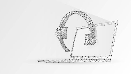 Headphones with microphone on a laptop screen. Abstract digital wireframe, low poly mesh, polygonal vector white origami 3d illustration. Online consultation, problem-solution concept. Line dot Çizim