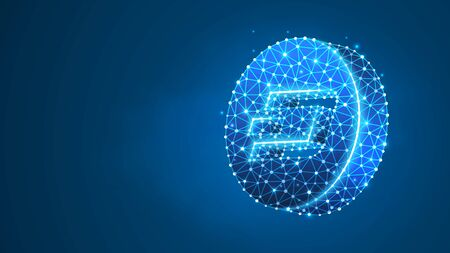 Dash cryptocurrency logo. Crypto mining, blockchain system, smart contract for business concept. Abstract digital wireframe, low poly mesh, polygonal vector blue neon 3d illustration. Line, dot Çizim