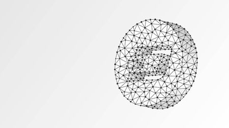 Dash cryptocurrency . Abstract digital wireframe, low poly mesh, polygonal vector white origami 3d illustration. Crypto mining, blockchain system, smart contract for business concept. Line, dot Stok Fotoğraf - 134651729