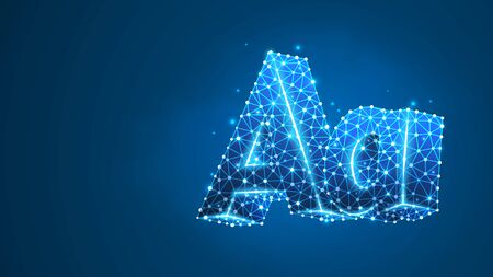 Alphabet letter A. Design of an Uppercase and lowercase letters. Banner, template or a pattern. Abstract digital wireframe, low poly mesh, vector blue neon 3d illustration. Triangle, line dot