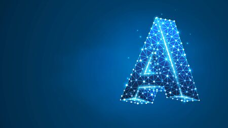 Alphabet letter A. Design of an Uppercase letter. Banner, template or a pattern. Abstract digital wireframe, low poly mesh, vector blue neon 3d illustration. Triangle, line dot