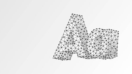 Alphabet letter A. Abstract digital wireframe, low poly mesh, vector white origami 3d illustration. Çizim