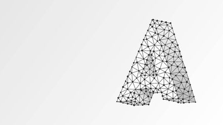 Alphabet letter A. Abstract digital wireframe, low poly mesh, vector white origami 3d illustration. Design of an Uppercase letter. Banner, template or a pattern. Triangle, line dot Çizim
