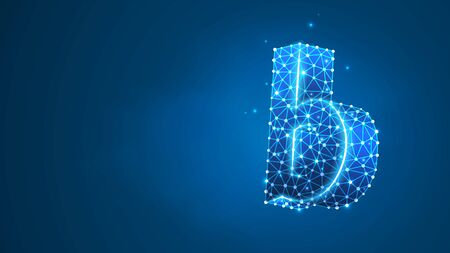 Alphabet letter B. Design of a lowercase letter. Banner, template or a pattern. Abstract digital wireframe, low poly mesh, vector blue neon 3d illustration. Triangle, line dot