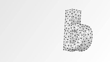 Alphabet letter B. Abstract digital wireframe, low poly mesh, vector white origami 3d illustration. Design of a lowercase letter. Banner, template or a pattern. Triangle, line dot Çizim