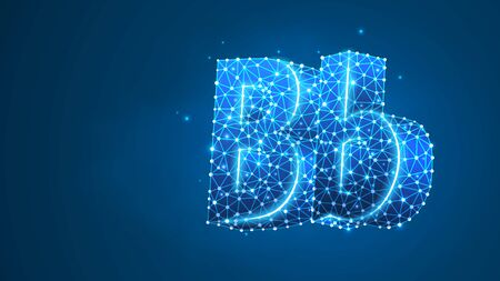 Alphabet letter B. Design of an Uppercase and lowercase letters. Banner, template or a pattern. Abstract digital wireframe, low poly mesh, vector blue neon 3d illustration. Triangle, line dot Çizim