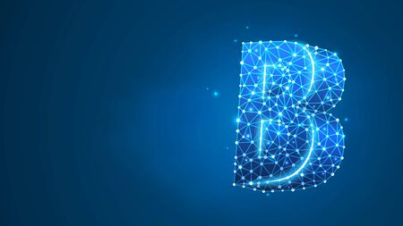 Alphabet letter B. Design of an Uppercase letter. Banner, template or a pattern. Abstract digital wireframe, low poly mesh, vector blue neon 3d illustration. Triangle, line dot